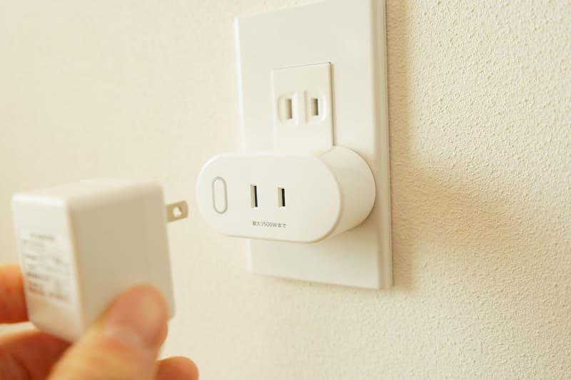 スマートWi-Fiプラグをコンセントに差し込み、そこに家電を接続