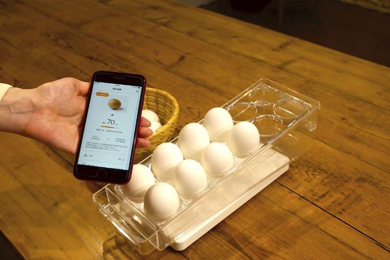 プレートに食材をのせ、表示する単位を登録。卵は「%」