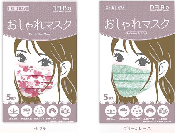 キャンペーンのプレゼント、DELBio製「おしゃれマスク」春バージョン(5枚入り)