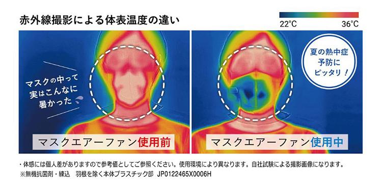 マスク内に送風して着用時のストレスを軽減