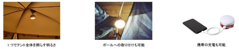 小型ながらテント全体を照らせる