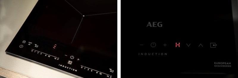 (左)ウィンドミルデザインで鍋を置く位置を示す。(右)タッチパネルで直感的な操作が可能