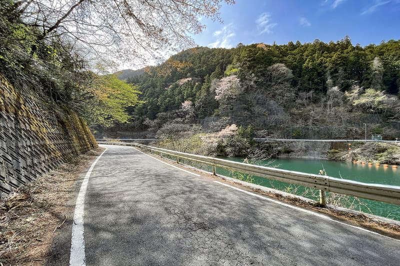 湖には周回道路があり、一周すると約4.5km。湖を眺めて自然を感じながら走れます。ただし現在は崖崩れ(2019年の台風19号によるもの)で遮断された道路の工事中で、周回はできません(近日中に工事が完了すると思われます)