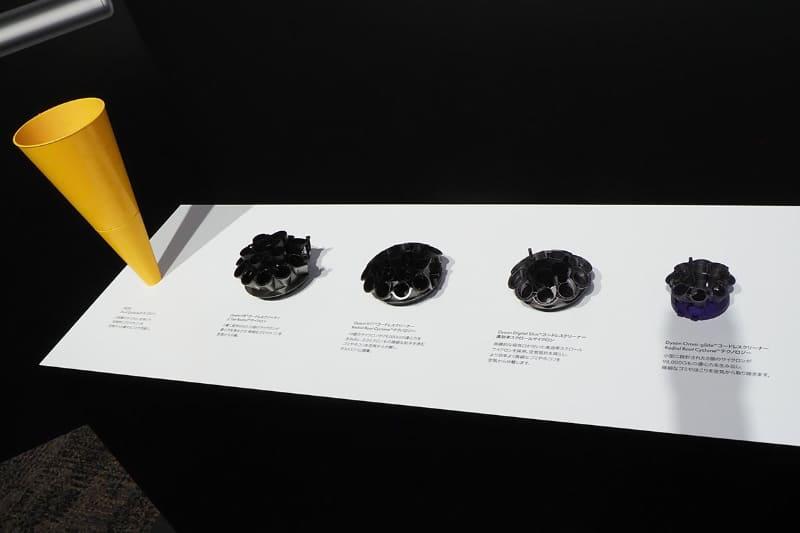 初代DC01(左端)からのサイクロン部の進化。Omni-glide(右端)は8個のサイクロンが98,000Gの遠心力を生み出す