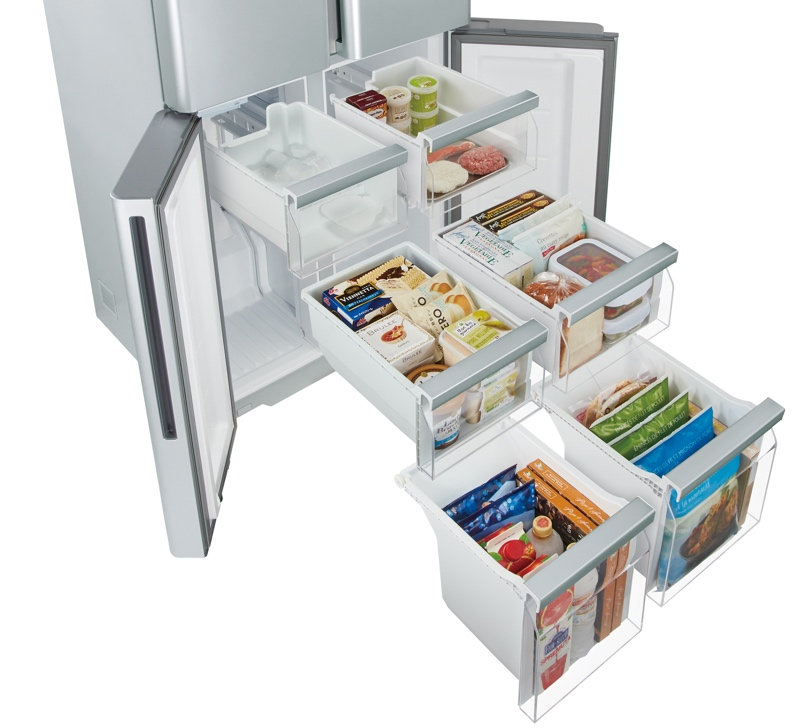 6つのボックスに分かれた大容量冷凍室