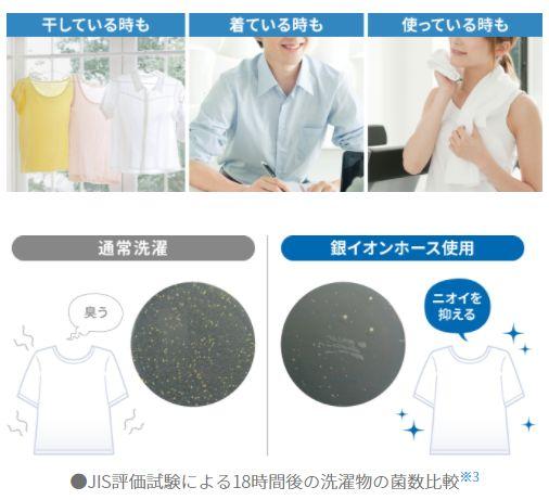 部屋干しの臭いがなくなるだけでなく、乾燥しても銀イオンが残るので消臭シャツ、消臭靴下、消臭タオルになる! これは大きな副次効果だ
