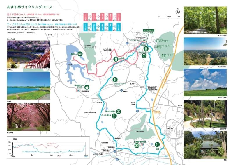 コースマップ。長柄町の体験スポット巡りが可能