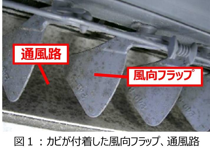 エアコン内部にカビが付着している可能性がある