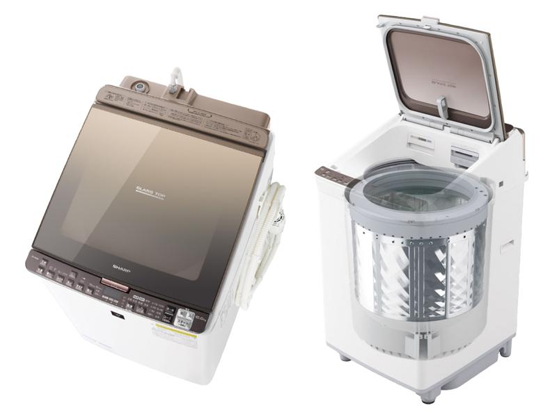 洗濯槽が縦に配置されている「縦型洗濯機」(写真はシャープの「ES-PX10」)