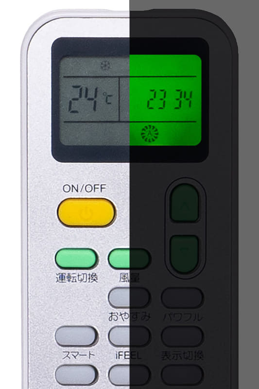 リモコンの操作部はバックライト付き。リモコンには温度センサーが内蔵されており、運転モードを「i FEELモード(体感周囲温度感知)」にすると、リモコン周囲の温度を基準として自動で温度調節されます