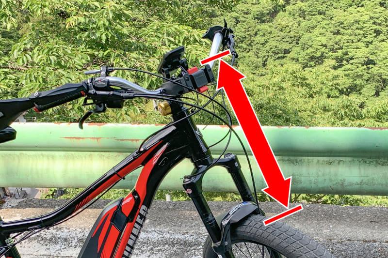 写真の赤矢印は、KLICKfixマウントからタイヤまでの距離を示しています。バッグの高さがこの距離内に収まれば、バッグとタイヤなどが干渉することなく装着できます