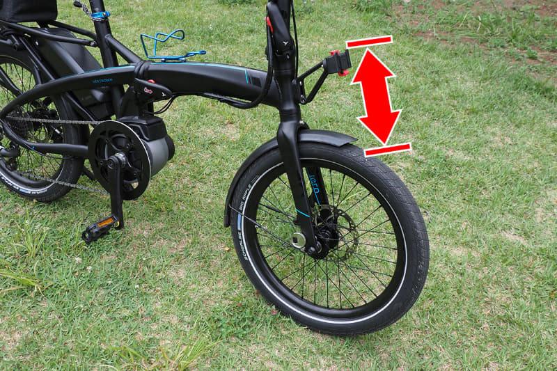 しかし、右のような「KLICKfixマウント下の空間が狭い」という場合、バッグの高さをよく調べないと、バッグとタイヤが干渉して「装着できなかった」という事態が起きてしまいます
