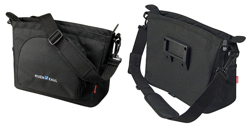 RIXEN & KAUL「アレグラ KT817」。サイズは33x22x14cm(幅×高さ×奥行)で容量5L、重さは600g。A4サイズまでを収納できるショルダーバッグです。カラーはブラックのみで、価格は15,180円。バッグプレート上端からバッグ底面までの高さは約16.5cm