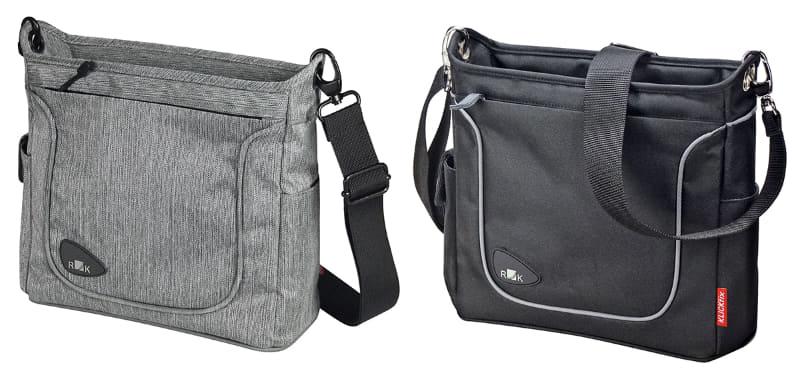 デザイン性を重視したRIXEN & KAUL「アレグラ ファッション KT818」。サイズは25x23x10cm(幅×高さ×奥行)で容量4L、重さは650g。上記「アレグラ KT817」より少し薄いという印象のショルダーバッグです。カラーはグレーとブラックがあり、価格は16,280円。バッグプレート上端からバッグ底面までの高さは約16cm