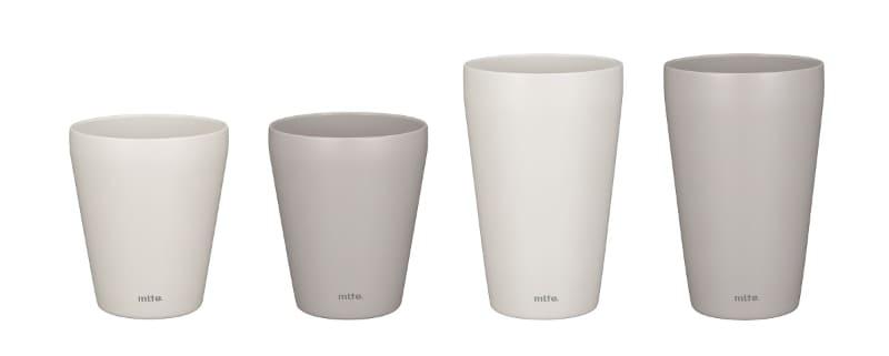 mlte 食洗機対応保温タンブラー。左から240ml(ホワイト/グレー)、350ml(同)