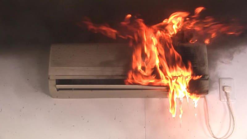 エアコンの使い方を誤ってしまうと火災の危険(NITEの実験)