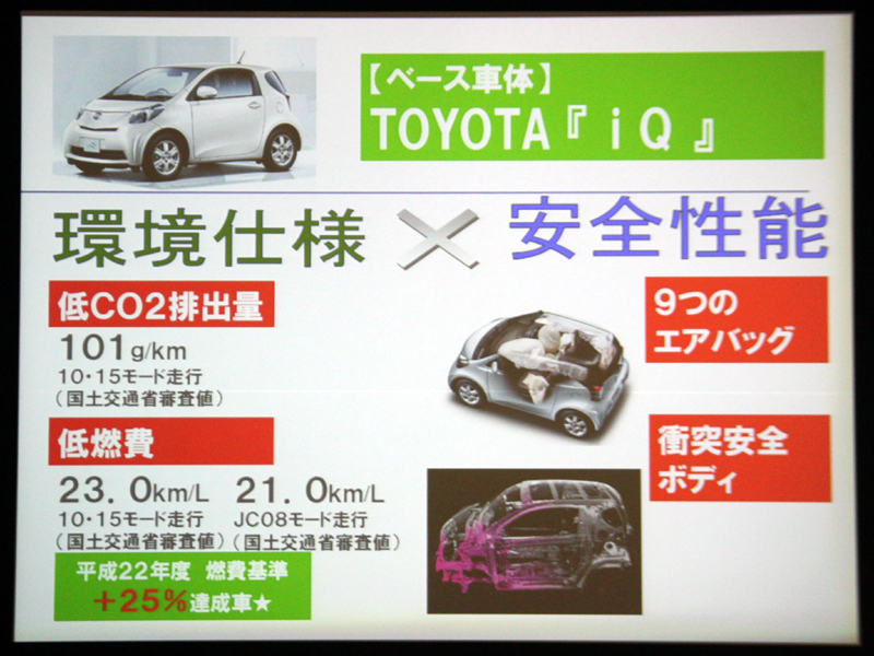 トヨタの「iQ」がベース車となる