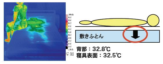 AEROSLEEPを使用し、90分経った後の布団のサーモグラフィー。布団の外へと熱が逃げるため、敷き布団や背中の温度上昇が押さえられている
