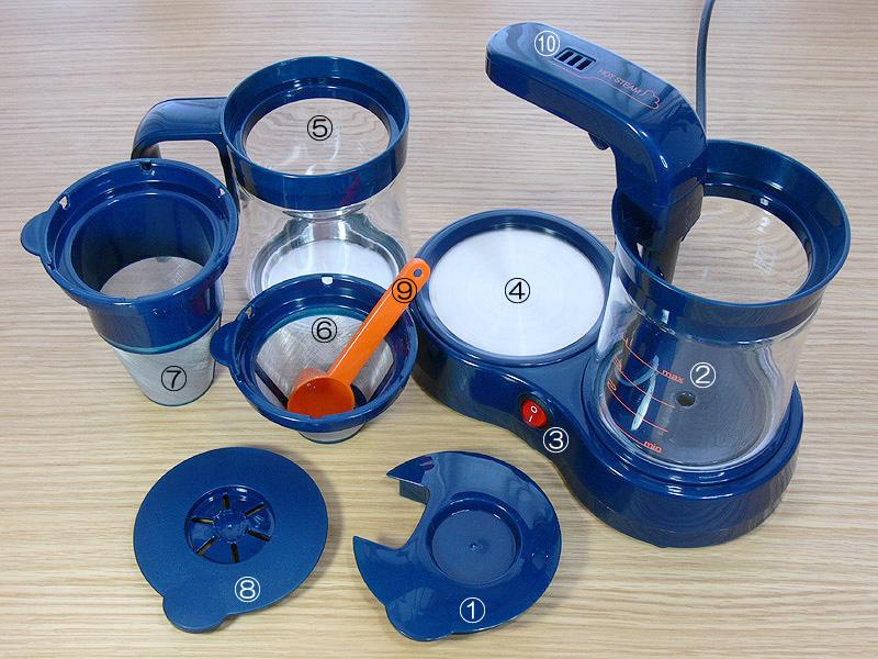 カフェテーの部品、パーツ一覧。(1)給水タンクのふた兼フィルタートレイ、(2)給水タンク、(3)電源スイッチ・ランプ、(4)保温プレート、(5)グラスジャグ、(6)コーヒーフィルター、(7)ティーフォルダー、(8)グラスジャグのふた、(9)メジャースプーン、(10)排気口