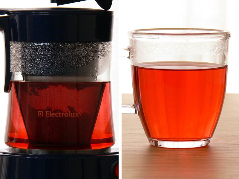 ローズヒップティーの場合、メジャースプーン2杯では少々薄かった。倍の茶葉を入れ、ドリップ終了後3、4分おいてじっくり蒸らした方が、よりおいしく楽しめる