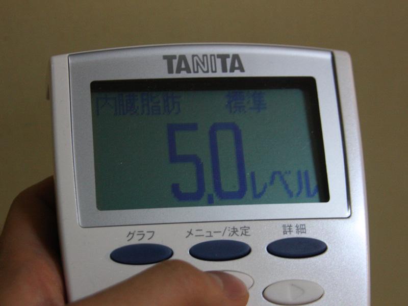 """""""メタボ""""を判定する内臓脂肪レベルは「5.0」の「標準」だった。ホッと一息"""