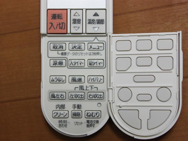 フタを開けた中にあるのは使用頻度が低いボタン