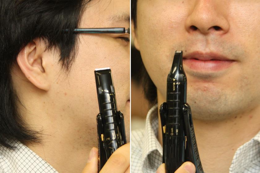 デザイントリマー(左)は、もみあげのセットやヒゲのキワ剃りに、ミニトリマー(右)は主に鼻毛カットに使用する