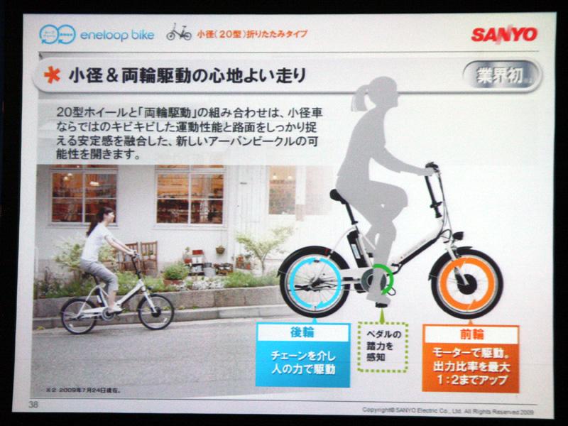 小型・折りたたみタイプの電動アシスト自転車では初となる両輪駆動方式。キビキビとした動きと安定感が味わえるという