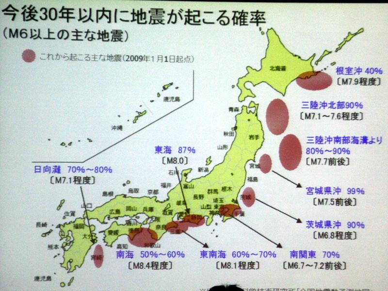 今度30年以内に地震が起こるとされている地域とその確率