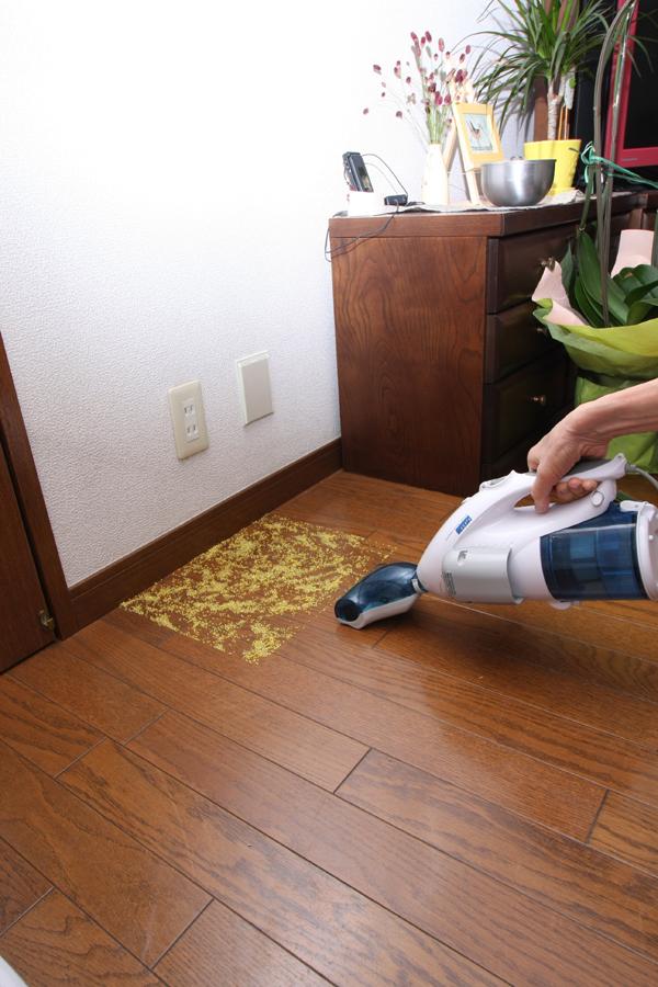 こちらは100V式のサイクロン(もどき)掃除機。いつもは細いノズルをつけて卓上用として使っているので、床を掃除するのは初めてだ