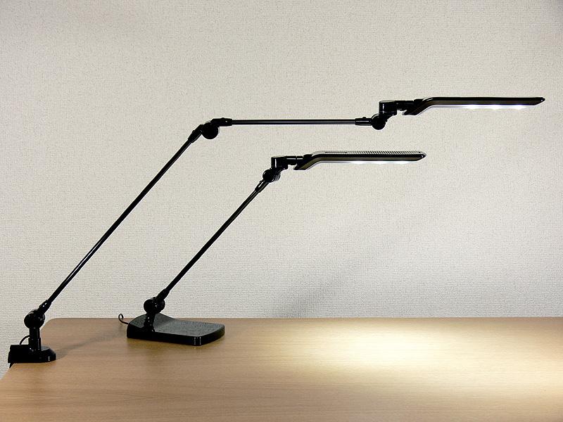 LEDアームライト LE-H631B (上)と、LEDライト LE-H612B (下)