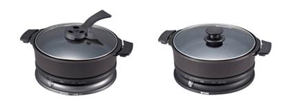 下位機種2機種。左から波形プレートを省略した「CQB-G100」、深鍋のみが付属する「CQB-H100」