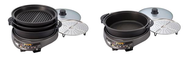 サイズが大きめのグリル鍋も同時発売する。左から「CPZ-G130」、「CPZ-C130」