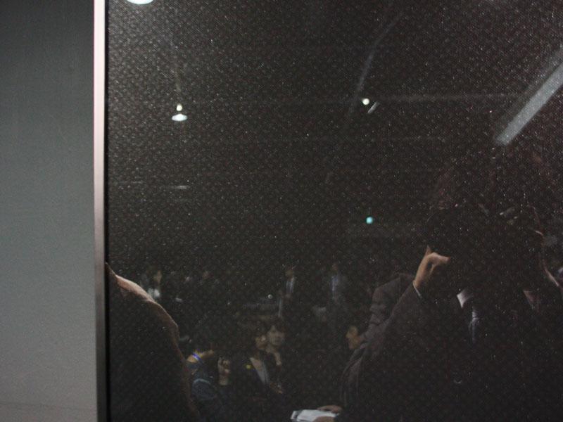 表面はガラス素材を採用しており、記者が写真を撮影する姿が反射している。コモンブラックの模様は扉全体にあしらわれている