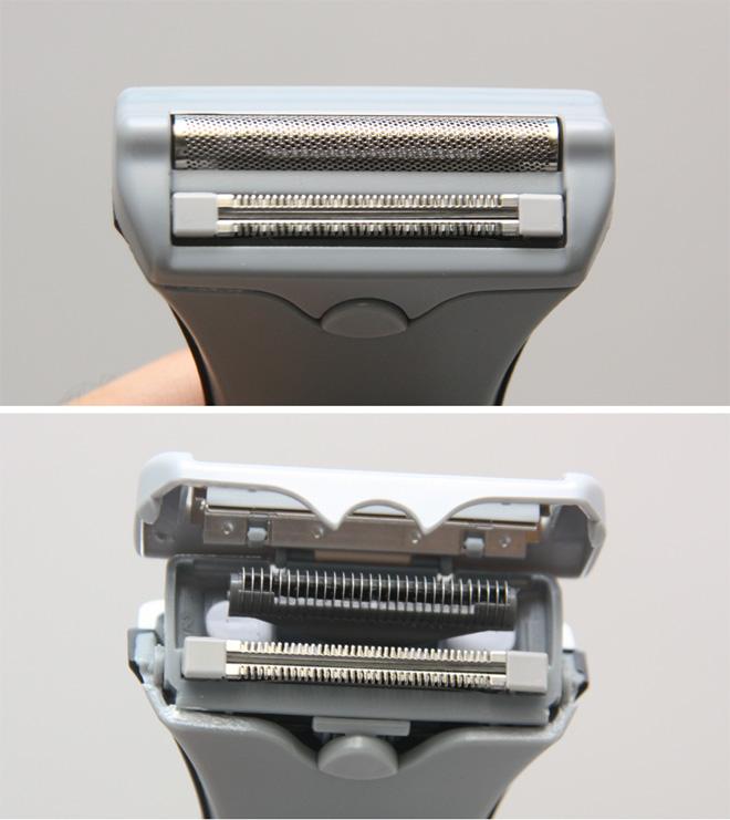 """ヘッド(写真上)は往復式の外羽とくせヒゲ用トリマーという""""2枚刃""""。ボタンを押せばカバーが開く(写真下)。手入れの際はカバーを開けた状態で水を当てる"""