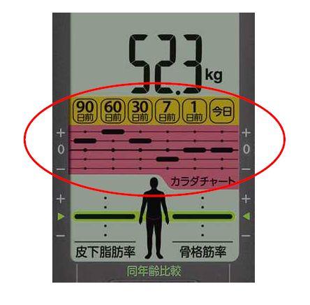 カラダチャートの表示画面。上に最新の測定値、下に過去の体重の変化を表したグラフが表示される
