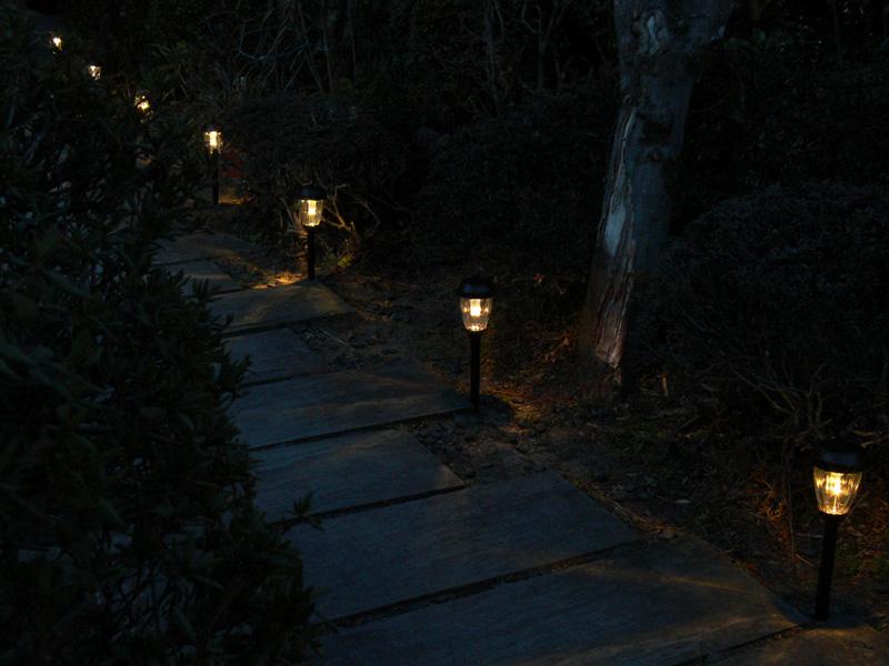 夕暮れ後の蒼い自然光と、暖かみのあるLEDライトのコントラストが美しい
