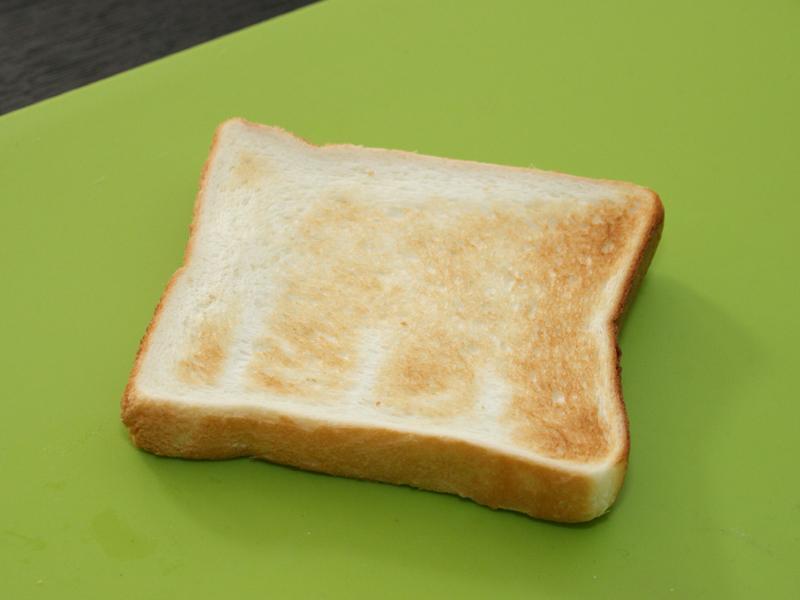焼き目1で焼いたパン。焼き上がりまでの時間は2分10秒