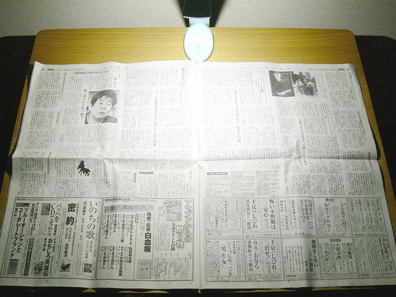 見開きの新聞紙の広げても、端の方までしっかり読めるほど明るい。すごい!