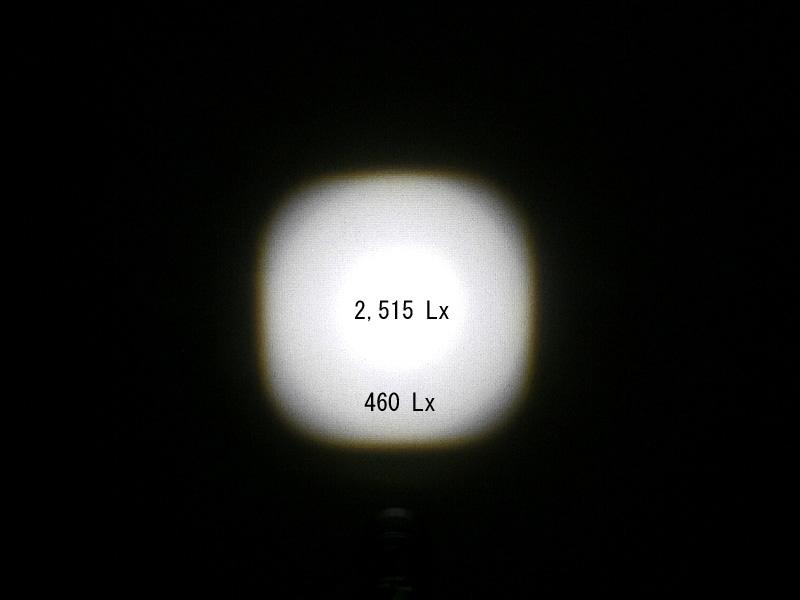 1m先を照らしたスポットビーム時の明るさ。中心部はなんと2,515Lx!! LEDデスクライト並の明るさが得られる