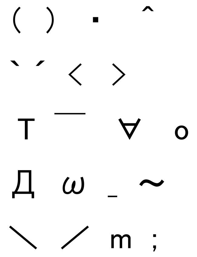 用意されている20種類の記号や文字は写真の通り