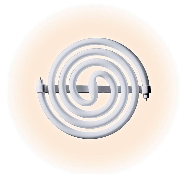 スパイラルパルック蛍光灯。蛍光管を平面状に加工した「平面らせん加工」が特徴