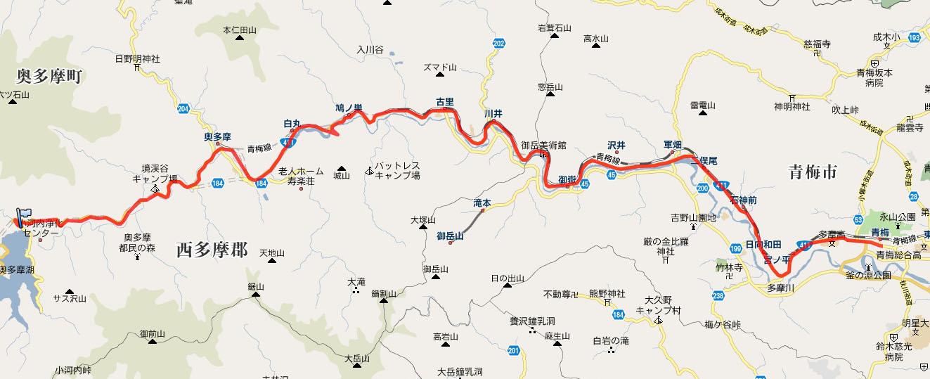 今回eneloop bikeで挑戦するルート(青梅駅~奥多摩湖の区間)。走行距離は約28km ※地図はGoogleマップより引用