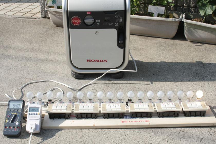 さっそく実験器具のランプを1つ1つ点灯していこう。60W電球1個だと、消費電力は54W