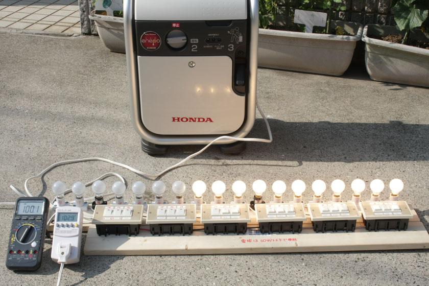 オーブントースターや電気ポット、ドライヤーの弱いモードだと600W程度なので、電球11個分(614W)程度
