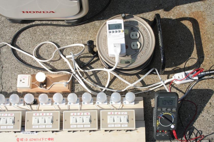そこで、60Wの電球1個を点灯した状態で、追加して電球11個(614W)を一斉に点灯させた場合、どのぐらい電圧が低下するかをチェック
