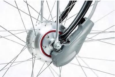 前輪に搭載された回生機能付きモーター
