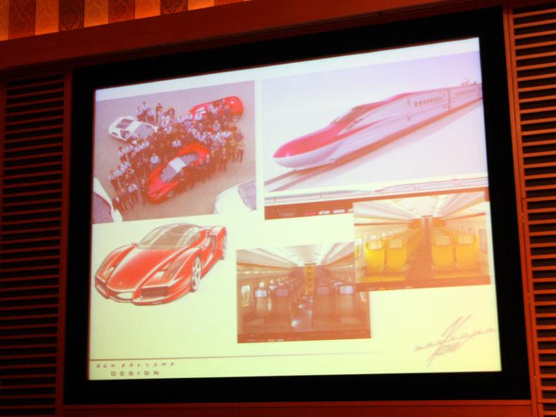 奥山氏はこれまでにフェラーリなどの高級外車のデザインを担当しているほか、2013年導入予定のJR東日本「E6系新幹線」のデザインも手掛ける