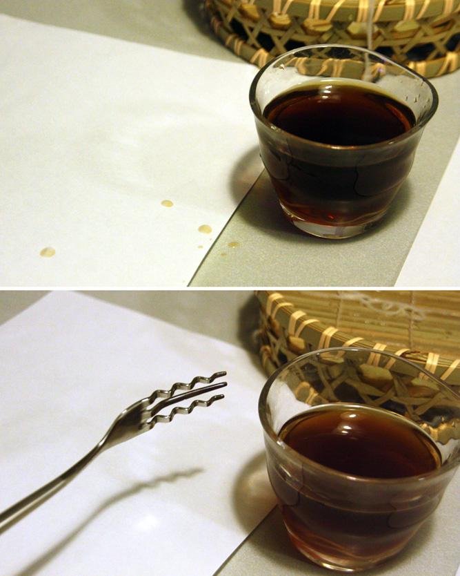 上が箸でそうめんを食べた場合、下がそーめんフォークを使って食べた場合。ツユの飛沫を周囲に飛ばさずに済むのがうれしい