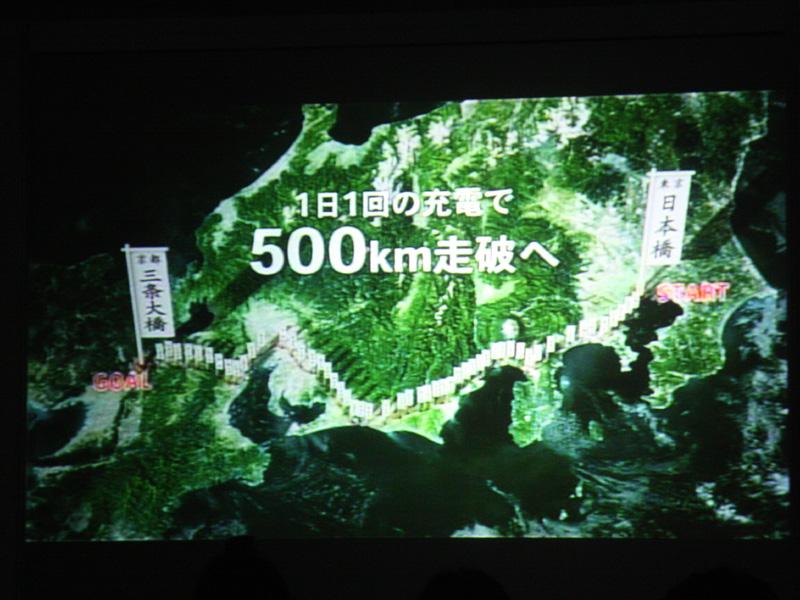 東京~京都間の約500kmを走行する